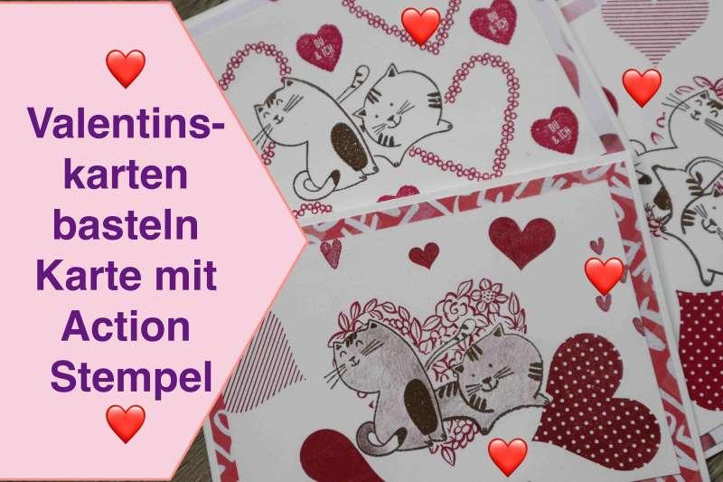 Valentinskarten basteln, Karte mit Action Stempel, Stempelhilfe kreativ leicht gemacht