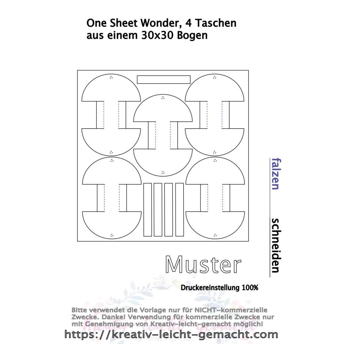 Tutorial: One Sheet Wonder, 4 Taschen aus einem 30x30 Bogen, Schablone FREE, DIY Idee, Stampin up