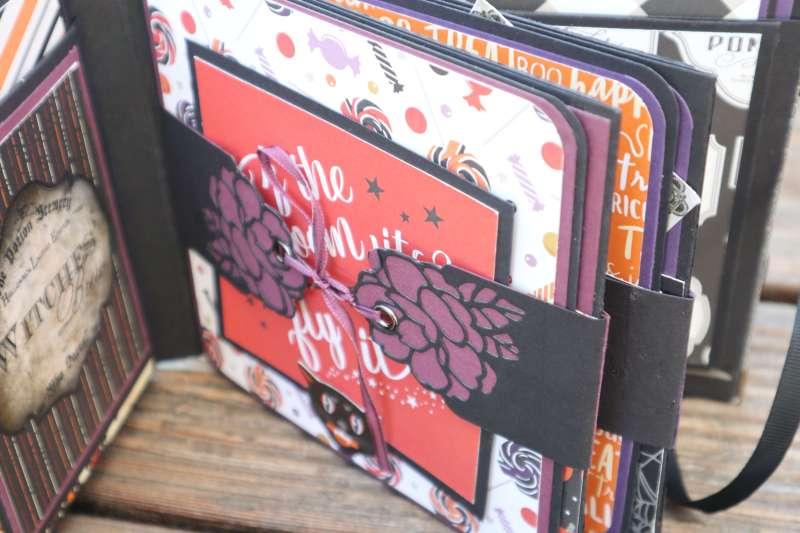 Craft Update Hardcover Halloween Mini-Album Echo Park Bewitched, Stampin up Minialbum Scrapbook.