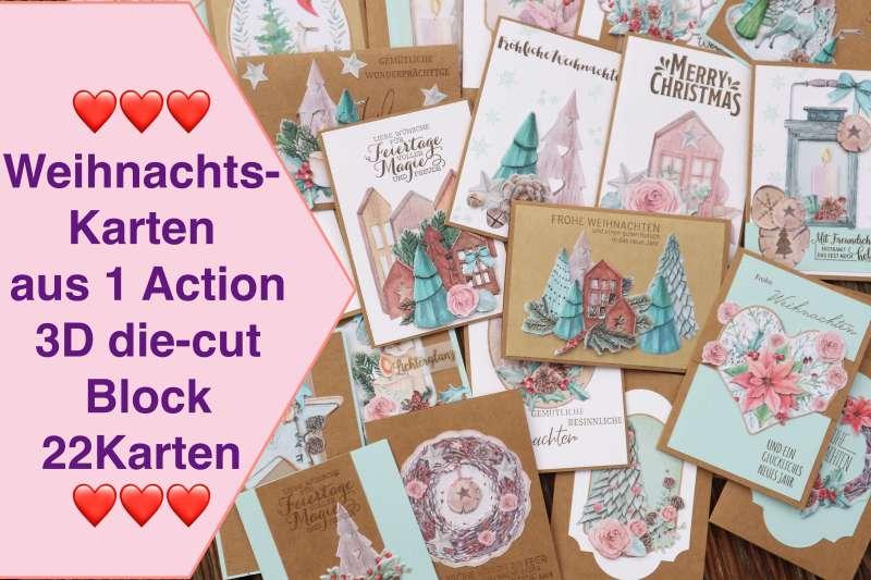 Weihnachtskarten aus 1 Action 3D die-cut Block Paper Block Karten Inspiration Craft Update
