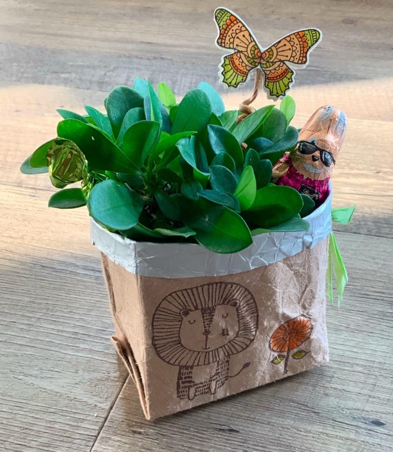 Tutorial Geschenkidee , Last Minute Geschenk , Deko Blumentopf Upcycling Idee, Tetrapack Upcycling