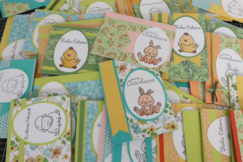 Tutorial: 64 Osterkarten aus 1 Action Block,Simple Card Design,Bastelsachen Aktion Haul Stampin up