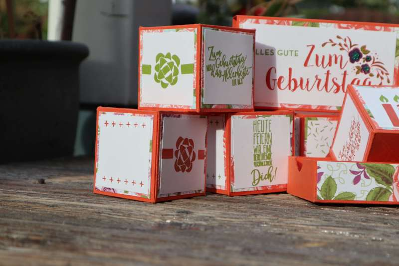 Tutorial: Pop Up Karte mit 5 3D Springwürfel aus Papier basteln Geschenkverpackung Stampin up