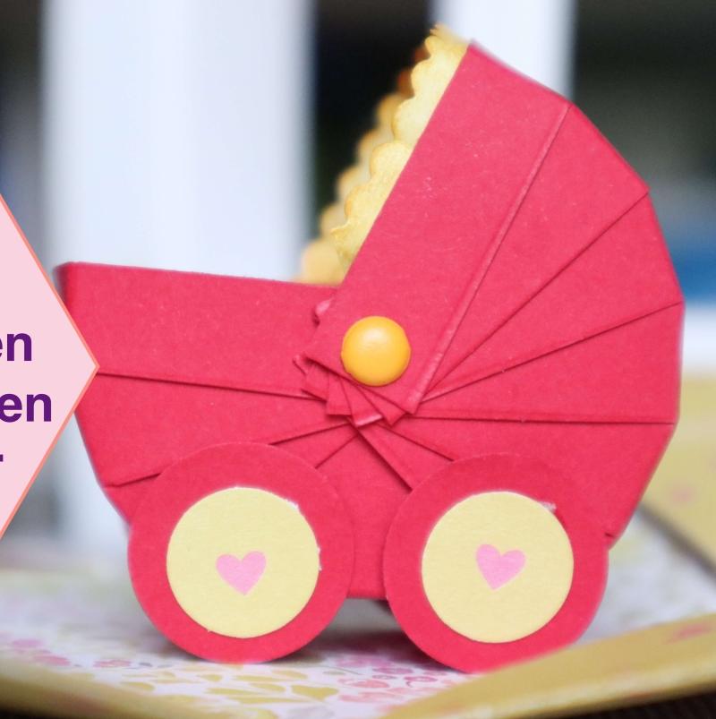 Tutorial: Mini Kinderwagen Stubenwagen aus Papier Explosionsbox Bastelanleitung
