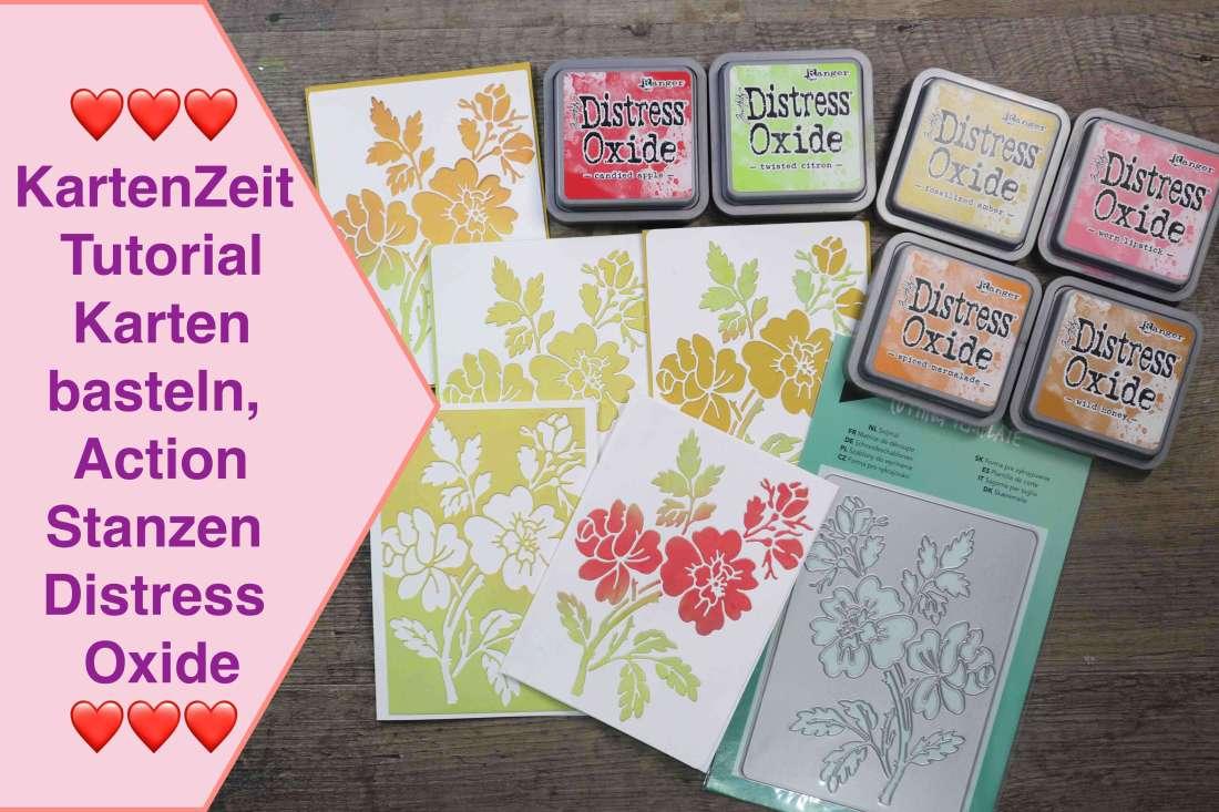 KartenZeit, Tutorial Karten basteln, Action Stanzen u. Distress Oxide, 1 Cover 2 Kartenvarianten