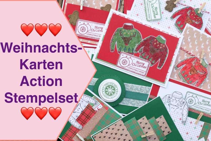 Weihnachtskarten aus 1 Action Stempelset Paper Block Karten Inspiration Craft Update ClearStamp Set
